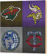 Minneapolis Sports Fan Recycled Vintage Minnesota License Plate Art Wild Vikings Timberwolves Twins Wood Print