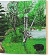 Minnesota Birch Lake And Bear Wood Print