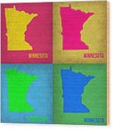 Minnesota Pop Art Map 1  Wood Print