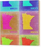 Minnesota Pop Art Map 2 Wood Print