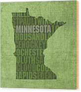 Minnesota Word Art State Map On Canvas Wood Print