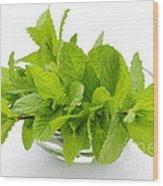 Mint Sprigs In Bowl Wood Print by Elena Elisseeva