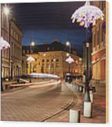 Miodowa Street In Warsaw At Night Wood Print