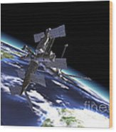 Mir Russian Space Station In Orbit Wood Print by Leonello Calvetti