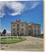 Miramare Castle With Fountain Wood Print