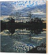 Mirror Image Clouds Wood Print