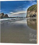 Mirror In The Sand Wood Print