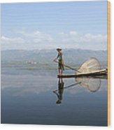 Mirror Inle Lake Wood Print