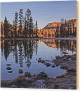 Mirror Lake Dawn Wood Print