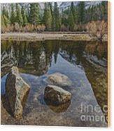 Mirror Lake Threesome Yosemite Wood Print