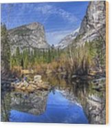 Mirror Lake Yosemite Autumn Wood Print