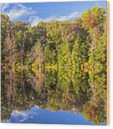 Mirror Reflections Of Fall Wood Print