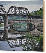 Mirrored Bridges Wood Print