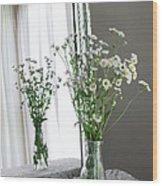 Mirrored Daisies Wood Print
