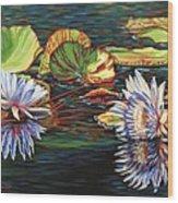 Mirrored Lilies Wood Print