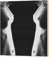 Mirrored Nude Vertorama 4 Wood Print
