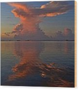 Mirrored Thunderstorm Over Navarre Beach At Sunrise On Sound Wood Print