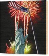 Miss Liberty And Fireworks Wood Print