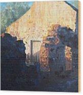 Mission At Sunset Wood Print