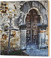 Mission Espada Entrance Wood Print