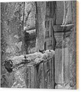 Mission Espada - Wooden Cross - Bw Wood Print