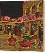 Mission Inn Christmas Chapel Courtyard Wood Print