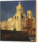 Mission San Xavier Del Bac Last Light Wood Print
