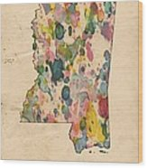 Mississippi Map Vintage Watercolor Wood Print