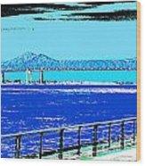 Mississippi River Bridge Poster Wood Print