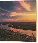 Mississippi River Evening Wood Print