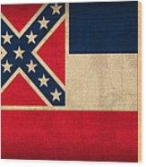 Mississippi State Flag Art On Worn Canvas Wood Print