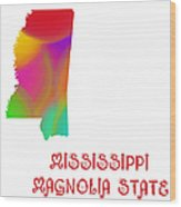 Mississippi State Map Collection 2 Wood Print