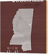 Mississippi State University Bulldogs Starkville College Town State Map Poster Series No 068 Wood Print