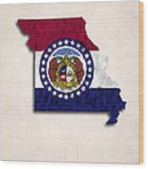 Missouri Map Art With Flag Design Wood Print