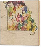 Missouri Map Vintage Watercolor Wood Print