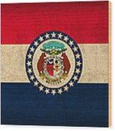 Missouri State Flag Art On Worn Canvas Wood Print