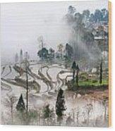 Mist And Village Wood Print