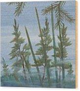 Mist In The Marsh Wood Print