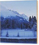 Mist Over Alps Wood Print
