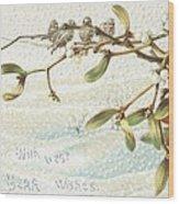 Mistletoe In The Snow Wood Print by English School