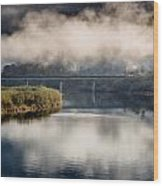 Mists And Bridge Over Klamath Wood Print