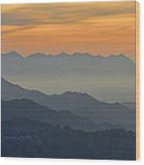 Mists In The Mountains At Sunset Wood Print