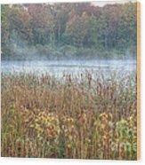 Misty Autumn Morning Wood Print