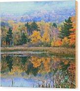 Misty Autumn Pond  Wood Print