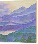 Misty Blue Ridge Wood Print