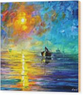Misty Calm - Palette Knife Oil Painting On Canvas By Leonid Afremov Wood Print