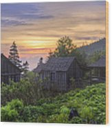 Misty Dawn At Mt Le Conte Wood Print by Debra and Dave Vanderlaan