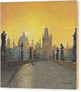 Misty Dawn Charles Bridge Prague Wood Print by Richard Harpum