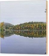 Misty Day Reflection Wood Print