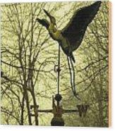 Misty Egret - Gold Wood Print
